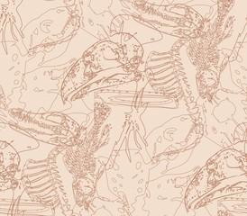 Seamless paleontology pattern with chaotic fossil bones in beige colors as ornament on cave walls