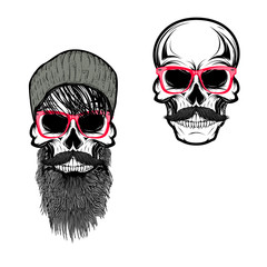 Set of  hipster skulls in hat and sunglases. Design elements for t-shirt print, poster. Vector illustration.