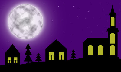 Silhouette of night village with church under huge moon for design.
