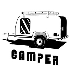 illustration of isolated Hand Drawn, doodle Camper, car Recreati