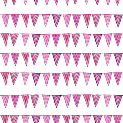 Watercolor seamless cute pattern with pink flags. Party repeating background isolated on white.