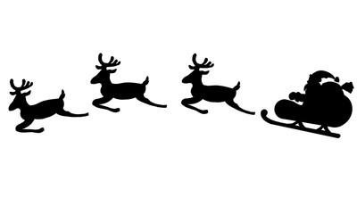 Graphic silhouette of Santa Claus in sleigh and deers for design.
