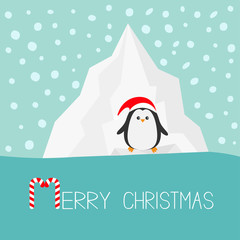 Penguin in red Santa hat. Iceberg Blue water Snow in the sky Flat design Winter background. Merry Christmas Candy cane text. Greeting card.