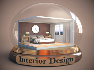 interior of the room in glass ball. 3D Illustration