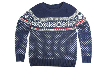 Blue sweater with a pattern