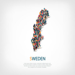 people map country Sweden vector