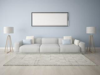 Mock up poster frame modern living room with a blue background.