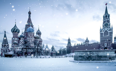 Aluminium Prints Asian Famous Place Christmas time in Moscow - snow falling on Red Square, Russia