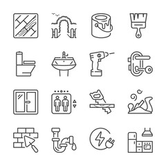 home repair and maintenance thin line icons