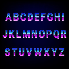 Retro alphabet font from 80's