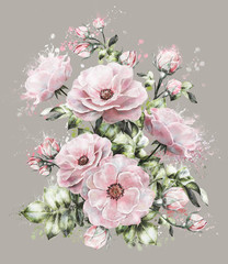 watercolor flowers. Splash paint. floral illustration, flower in Pastel colors, pink rose. branch of flowers isolated on gray background. Leaf and buds. Cute composition for wedding or  greeting card