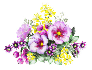 watercolor flowers and hers. floral illustration, flower in Pastel colors, pink, yellow. branch of flowers isolated on white background. Leaf and buds. Cute composition for greeting card