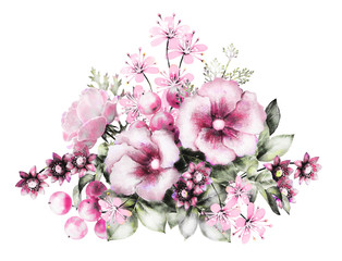 watercolor flowers and herbs. floral illustration, flower in Pastel colors, pink. branch of flowers isolated on white background. Leaf and buds. Cute composition for wedding or greeting card