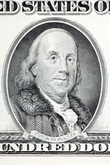 Benjamin Franklin a portrait from old US one hundred dollars