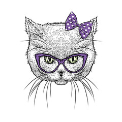 Cute kitten wearing glasses and a bow. Vector illustration. Drawing for greeting cards, prints on clothes or poster. Girl.
