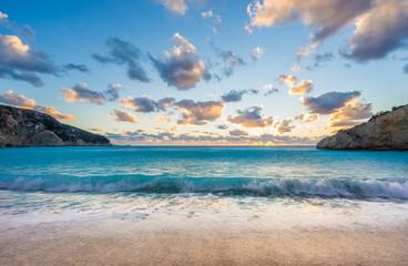Porto Katsiki beach sunset on Lefkada island in Greece Fototapete