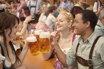 Friends enjoying Oktoberfest