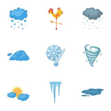 Weather set icons in cartoon style. Big collection of weather vector symbol stock illustration