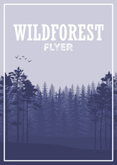 Wild coniferous forest flyer background. Pine tree, landscape nature, wood natural panorama.