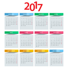 Calendar 2017. Vector design stationery template.