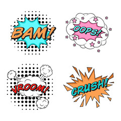 Comics style vector stickers set of 4: BAM! OOPS! VROOM! CRUSH!