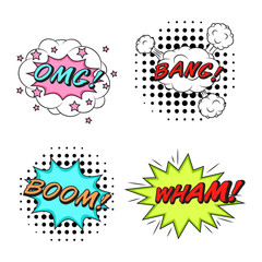 Comics style vector stickers set of 4: OMG! BANG! BOOM! WHAM!
