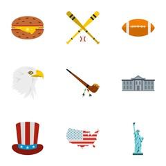 USA icons set. Flat illustration of 9 USA vector icons for web