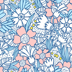 Blue flowers pattern