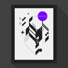 Poster/cover design template with abstract geometric elements. Style of modern graffiti.