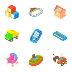 Types of toys icons set. Cartoon illustration of 9 types of toys vector icons for web