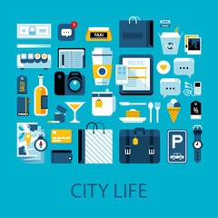 Flat colorful illustration about city life, travelling and shopping. Big set of icons and graphic elements.