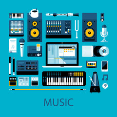 Flat colorful illustration about music, music creation and modern music equipment. Big set of icons and graphic elements.