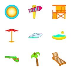 Miami city icons set. Cartoon illustration of 9 Miami city vector icons for web