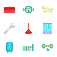 Toilet icons set. Cartoon illustration of 9 toilet vector icons for web