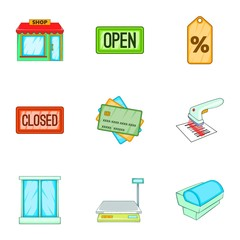 Store icons set. Cartoon illustration of 9 store vector icons for web