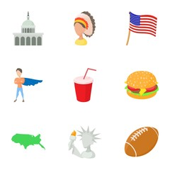 USA country icons set. Cartoon illustration of 9 USA country vector icons for web