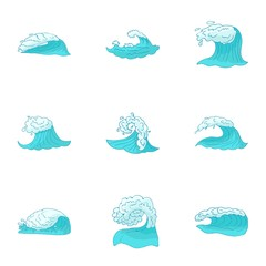 Types of waves icons set. Cartoon illustration of 9 types of waves vector icons for web