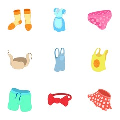Underwear icons set. Cartoon illustration of 9 underwear vector icons for web