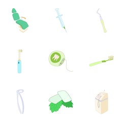 Teeth icons set. Cartoon illustration of 9 teeth vector icons for web