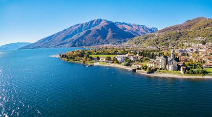 Gravedona - Lago di Como (IT) - Vista aerea della Chiesa di S. Maria del Tiglio sec. XII
