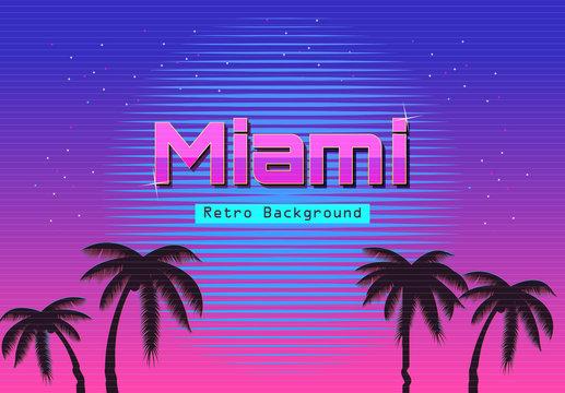 80s Retro Neon gradient background. Palms and sun. Tv glitch effect. Sci-fi Miami beach.
