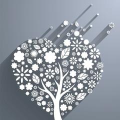 Abstract vector heart-shaped tree