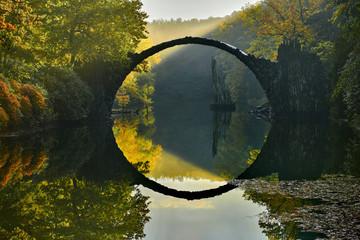 Amazing place in Germany - Rakotzbrucke also known as Devils Bridge in Kromlau.