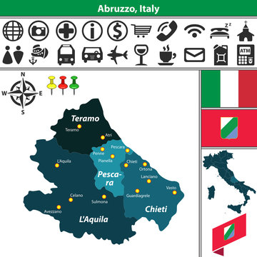 Abruzzo with regions, Italy