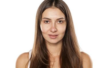 Beautiful young woman without makeup