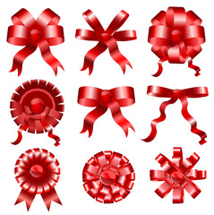 Set of celebratory red bows