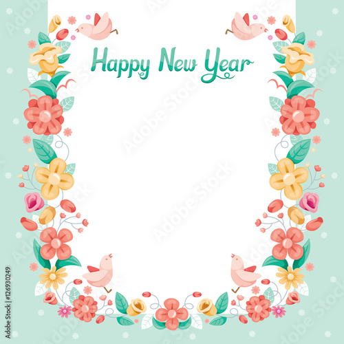 floral with bird border decoration flower blossom happy new year christmas