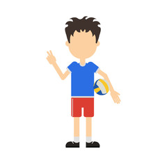 Isolated professional volleyball player standing on white background. Man in uniform with ball.
