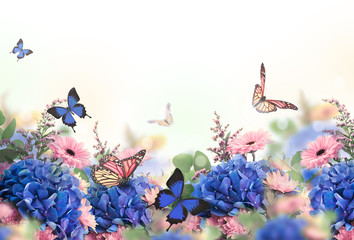 Amazing background with hydrangeas and daisies. Yellow and blue flowers on a white blank. Floral card nature. bokeh butterflies.