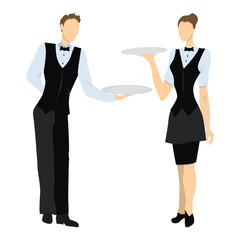 Isolated professional waiters. Male and female waiters in uniform with trays.